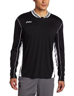 ASICS Men's Digg Long Sleeve Shirt, Small, Black/White