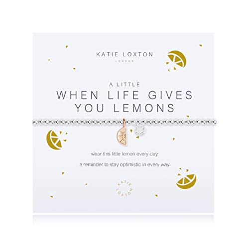 Katie Loxton A Little When Life Gives You Lemons Silver Women's Stretch Adjustable Charm Bangle Bracelet
