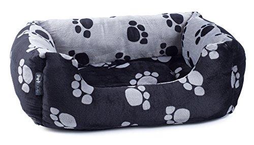 Petface Paws - Cama Cuadrada Reversible, tamaño Mediano, Color Negro y Gris