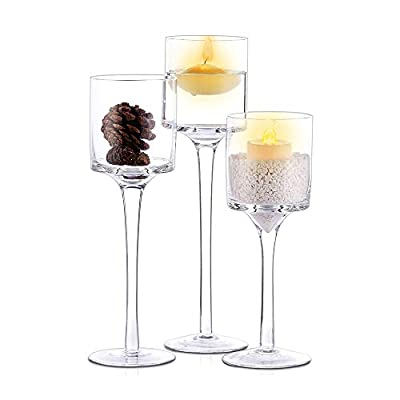 Nuptio 3 Pcs Candlestick & Tealight Candle Holders, Tall Elegant Glass Stylish Design, Ideal for Weddings, Home Decor, Parties, Table Settings & Gifts