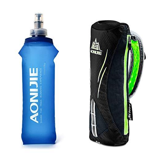 Geila Botella de Agua de Mano para Correr, Botella de Mano de Agarre de 17 oz con Paquete de hidratación con Correa de Mano, matraz Suave Deportivo BPA