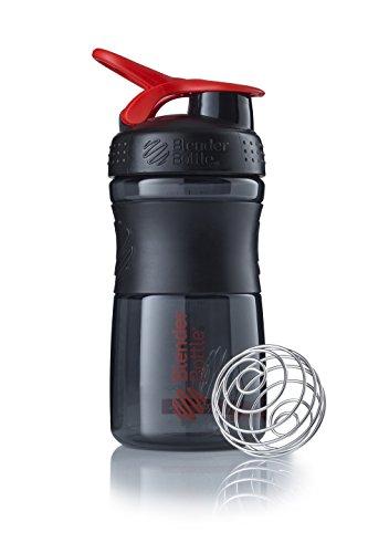 BlenderBottle Sportmixer Tritan Trinkflasche mit BlenderBall, geeignet als Protein Shaker, Eiweißshaker, Wasserflasche oder für Fitness Shakes, BPA frei, skaliert bis 500 ml, 590 ml, rot / schwarz