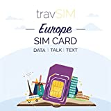 travSIM European SIM Card (UK SIM for Europe) Valid for 30 Days – 20GB Mobile Data – Germany Austria Italy France Switzerland Europe SIM Card - Talk & Text to European Countries