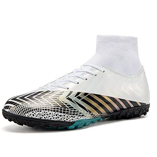 GWYX High Top Spikes Entrenadores Zapatillas De Deporte Profesional Zapatillas De Competencia Hombres Botas De Fútbol Boy Soccer Atletics Zapatos VIIPOO,White 1-37EU