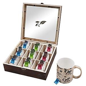Boîte de rangement à thé en bois