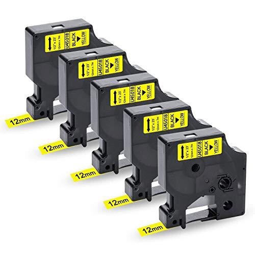 UniPlus Compatibile Nastro per Etichette Sostituzione di Dymo 45018 S0720580 Nastri Etichette per Dymo LabelManager 160 280 220P 210D 260P 420P PnP LabelWriter 450, 12mm x 7m, Nero su Giallo, 5 Pz