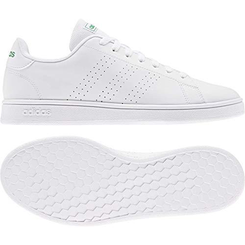 adidas Zapato de tenis Advantage Base para hombre, blanco (blanco/blanco/verde), 41.5 EU