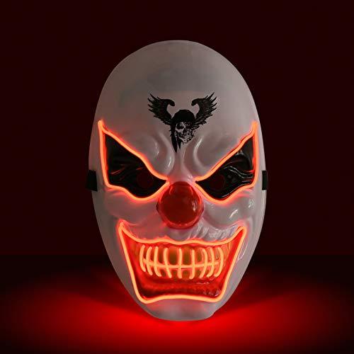KATELUO Purge Maske,led Maske,Halloween Maske,Masken Fasching,Geeignet für Karnevalsaktivitäten der Halloween-Horrorparty, 3 Arten von Flash-Effekten (Rot)