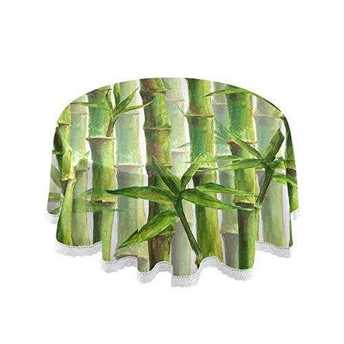 CPYang Runde Tischdecke Bambus Muster Polyester Tischdecke Rund Tischdecken für Esstisch, Küche, Hochzeit, Restaurant, Party, Buffet, Picknick
