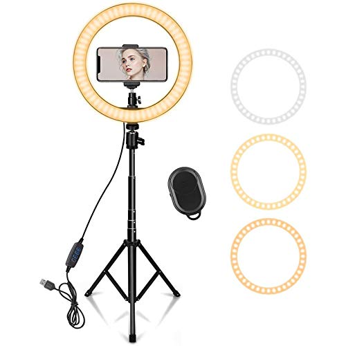YDBET 10' Ring Light with 62' Extendable Tripod Stand & Phone Holder for Youtube Video, Dimmable Led Ring Light for Camera, Video, Makeup, Selfie Photography Compatible with Smartphone