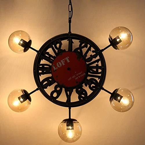 IREANJ Frijoles de la lámpara colgante de estilo industrial colgante de lámparas retro reloj mágicas Sala restaurante Carácter Araña Tienda de ropa timón 5 luces luces colgantes, D70 * 70cm, E27 * 5 *