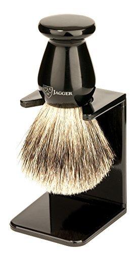 Edwin Jagger Best Badger Shaving Brush with Drip Stand, Imitation Ebony, Medium by Edwin Jagger
