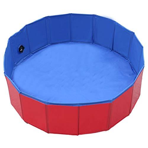 Piscina per Animali Domestici Piscina per Cani Piscina per Gatti Tavolo da Sabbia Vasca da Bagno Pieghevole Piscina per Bambini (Rossa 100X30Cm)