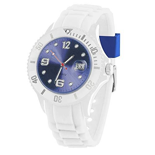 Taffstyle Damen Herren Sportuhr Armbanduhr Silikon Sport Watch Farbiges Ziffernblatt mit Datum Analog Quarz Uhr Weiß Blau