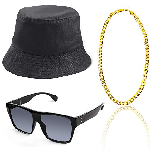 Beelittle 3pcs 80er / 90er Jahre Hip Hop Kostüm Kit Old Style Coole Rapper Outfits - Bucket Hat übergroße Schwarze Sonnenbrille Gold Plated Chain (B)