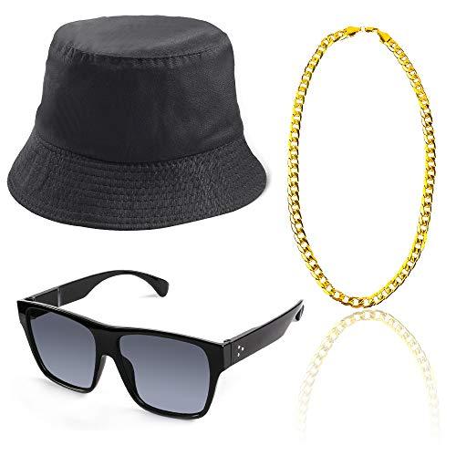 Beelittle 3pcs 80er / 90er Jahre Hip Hop Kostüm Kit Old Style Coole Rapper Outfits - Bucket Hat übergroße Schwarze Sonnenbrille Gold Plated Chain (B)