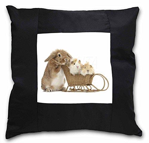 Kaninchen und Meerschweinchen schwarz Bordüre Satin Feel Kissenhülle mit Kissen Einsatz