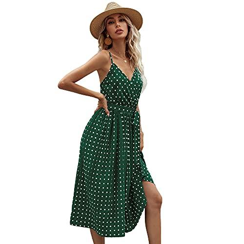 JIWEIRUN Vestidos de Mujer Cuello en V Correa de Espagueti Punto de Onda Eslinga Impresa Fiesta Plisada Vestido a Media Pierna de Playa sin Espalda con cinturón,Green-M