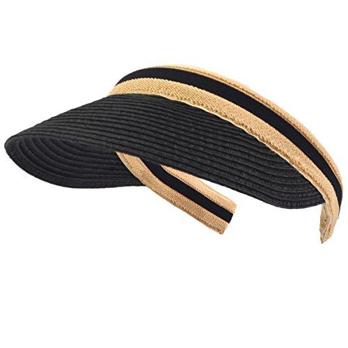 HISSHE Damen Golf Visier Strand Stroh Sonnenhut Visoren Hüte (Schwarz)