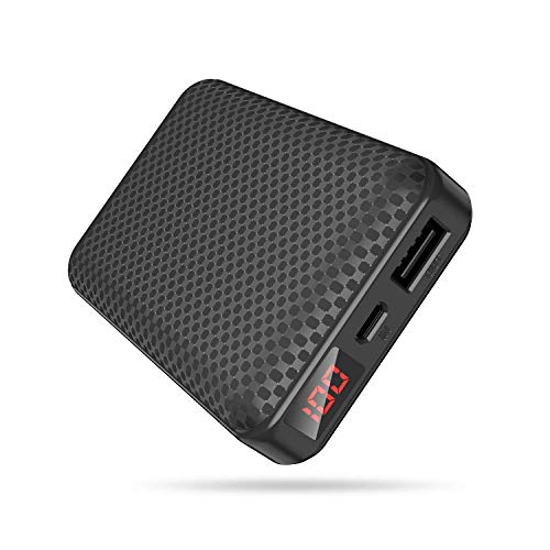 Mini Portátil Power Banks,Bateria Externa 10000mah,Cargador Portátil Movil con 2.1 Puertos Salidas USB Alta Velocidad,Pantalla LCD de Potencia,9 Protección Inteligente para Smartphones Tablets y Más