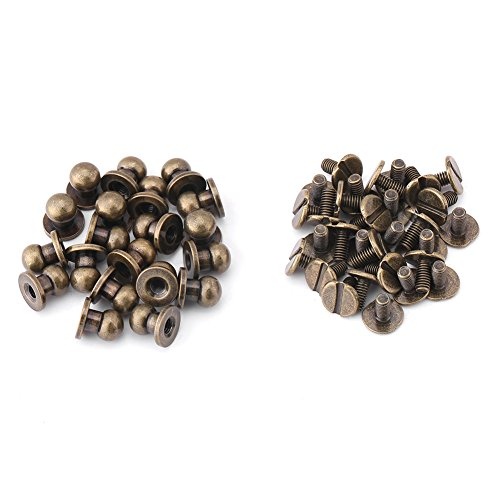 20 Pcs Copper Round Nails, Rivet Buckle, Brass Button Nails, DIY Leather Accessories, Bronze 8 * 6 mm