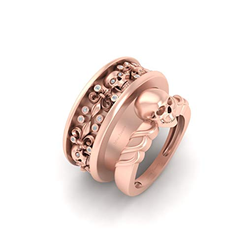 Solid 10k Rose Gold 0.20ctw White Diamond Matching Flower and Skull Engagement Ring Band Set Halloween Skull Couple Rings