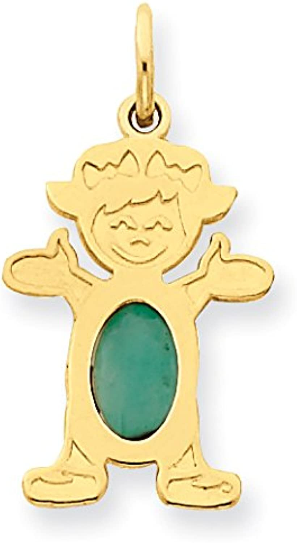 14k Yellow gold Girl 6x4 Oval Genuine EmeraldMay
