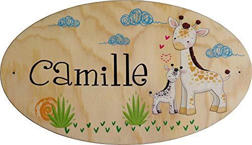 Plaque de Porte en bois personnalisée pour une Chambre d'enfant Sophie la Girafe - Le prénom de la plaque en bois est personnalisable - cadeau de naissance personnalisé bébé Décoration
