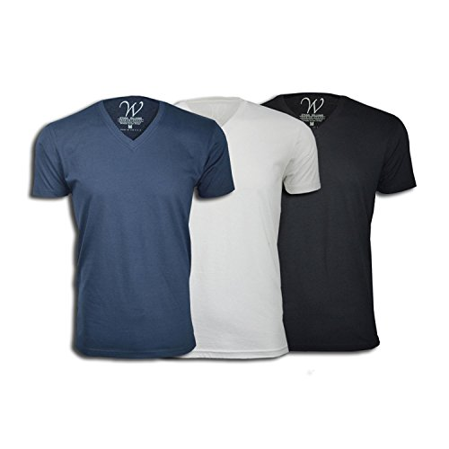 3-Pack 100% Cotton Made in The USA Ultra Soft Sueded Semi-Fitted V-Neck T-Shirt