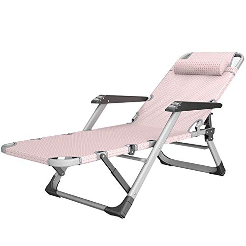 HOUSEHOLD Folding bed adjustable lounge chair, folding recliner portable garden recliner with pillow, folding bed, outdoor folding bed, multifunctional sun lounger, for terrace/lawn/deck