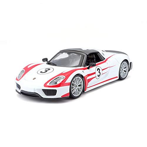 Bauer Spielwaren 18-28009 Porsche 918 Spyder, Weissach #3 Modellauto im Maßstab 1:24, weiß