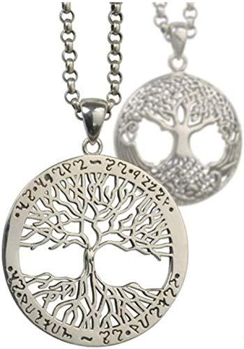 NC110 Collar con Colgante de árbol de la Vida de Plata 925 Marca Redonda Hombres y Mujeres Tendencia de Moda Adorno de Moda Cadena de suéter Larga Creativa YUAHJIGE