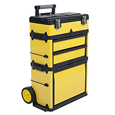 Stalwart 75-MJ2096 Rolling Stacking Portable Metal Trolley Tool Box Chest