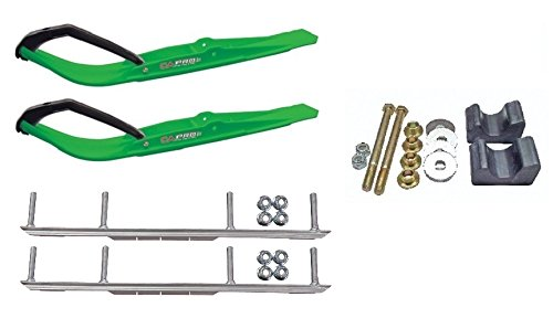 """C&A Pro Green Razor Snowmobile Skis w/ 6"""" Shaper Bars Complete Kit Arctic Cat 2009 and Previous"""