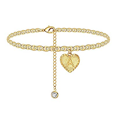 Yesteel A Initial Ankle Bracelets for Women, Gold Heart Anklet Letter Charm Anklet Bracelet for Women, Cute 14K Gold Plated Alphabet Foot Anklets for Teen Girls Beach Jewelry