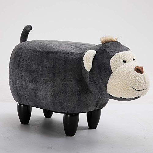 XIAOWEI Animal footstool for children monkey shape upholstered ottoman upholstered cushion shoe bench footrest stool stool for living room bedroom garden gray 66-35-37cm