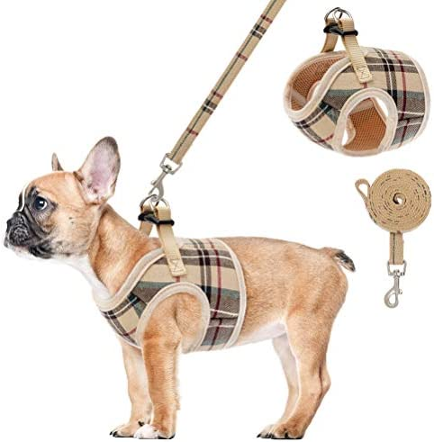 Soft Mesh Small Dog Harness with Leash Basic Plaid Padded Chest Vest for Kitties Puppy Small product image
