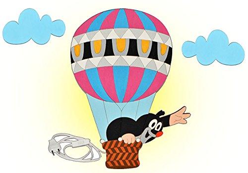 alles-meine.de GmbH Wandlampe aus Holz - der kleine Maulwurf - Pauli - auf Reisen im Heißluftballon - Lampe mit Schalter für Kinder - Kinderzimmer Kinderlampe Wandleuchte mit Ste..
