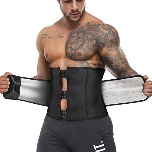 Waist Trainer Trimmer for Men Sauna Sweat Belt Neoprene-Free Waist Cincher Slimming Workout Shaper (Black, X-Large)
