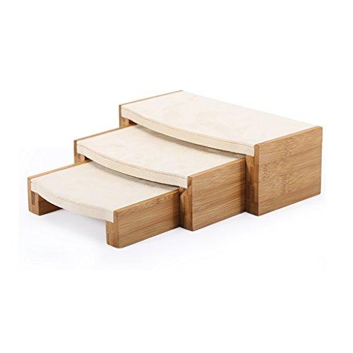 Sieraden Display Kruk Beugel Lade Massief Hout Bamboe Set Van 3