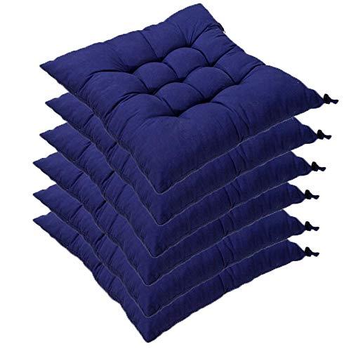 6er Set Stuhlkissen mit Bänder, 40x40x5cm, Sitzkissen für Stühle drinnen und draußen (Mehrere Farben zur Auswahl) (Dunkelblau)