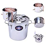 Seeutek Home Alcohol Water Distiller Copper Moonshine Still Kit Stainless Steel Spirits Boiler, 5Gal, Silver