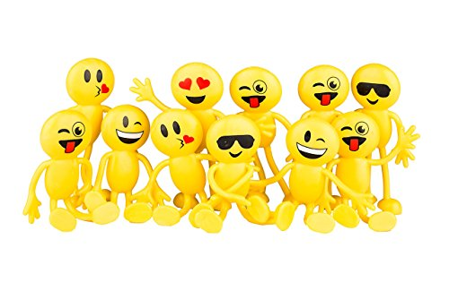 Newin Star Emoji-Partyzubehör, lustiges Spielzeug, 11,4 cm, Smiley-Gesicht, Emojis, biegbare Figuren, 12 Stück