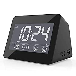 White Noise Sleep Sound Machine Alarm Clock for Home, Adults, Baby, Sleeping, Office Privacy, 8 Nature Soothing Sound, Headphone Jack, Dual Loud Alarm, Sleep Timer, USB Charger