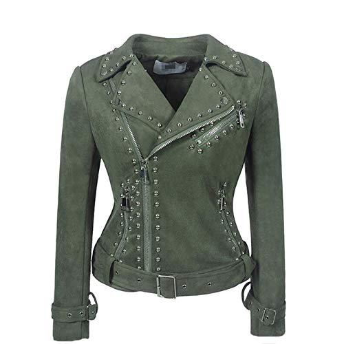 Laoling Chaqueta de Cuero de imitación para Mujer Remaches Abrigo de Motociclista Serpiente Cinturón de Gamuza PU Punk Ropa de Abrigo de Talla Grande