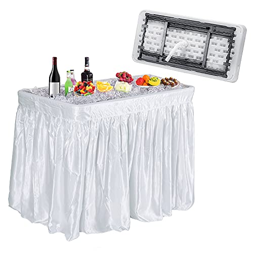 Giantex 4 Foot Ice Cooler Table w/Matching Skirt and Drain Plug, Foldable Buffet Cold Food Keeper for Party, BBQ, Picnic, Family Party, Buffet, Wedding, Great for Cooling Food Beverage, Chill Table