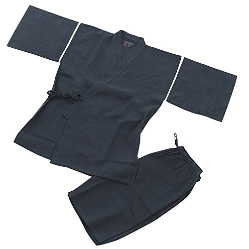 Edoten Men's Japan Kimono Jimbei SIJIRAORI 100% Cotton 705B XXXXL Navy