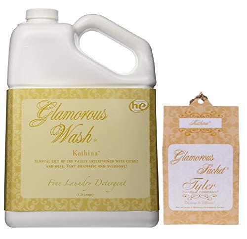 Tyler Candle Glamorous Wash Kathina Laundry Detergent 128oz w/Kathina Sachets Bundle