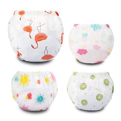 Flyish Potty trainingsbroek, trainingsbroek voor baby's meisjes, sterke absorberende trainingsbroek voor babyondergoed, herbruikbare trainingsbroek 4 pakketten