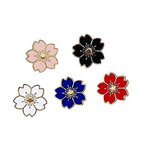 Cute Enamel Lapel Broche Set de broches Sakura Rose Broches de flores Novedad Funny Pins Insignias para mujeres Niñas Niños Ropa Bolsas Mochilas Chaquetas Sombrero (Conjunto de flores de sakura)